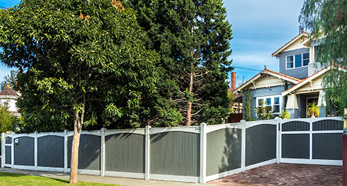 Lining boards with arched valences front fence