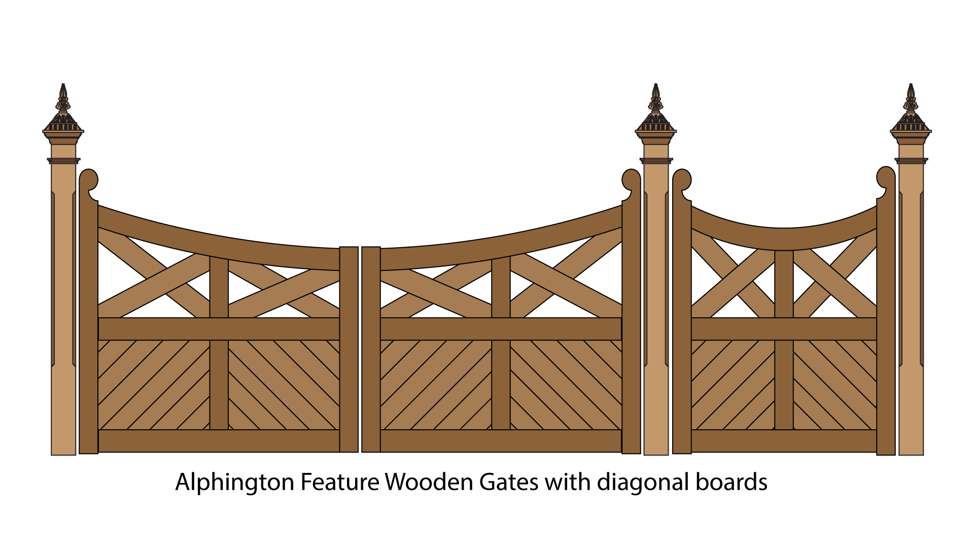 Alphington feature wooden gates with diagonal boards