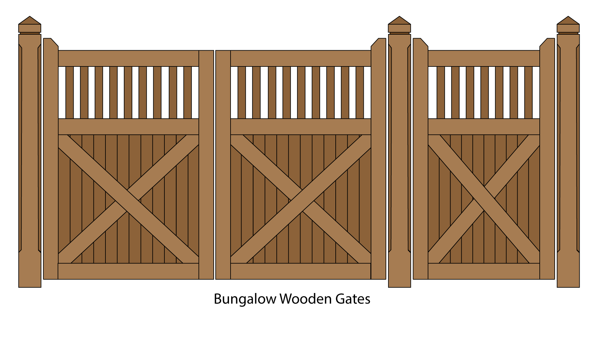 Bungalow Feature Wooden Pedestrian and Driveway Gates