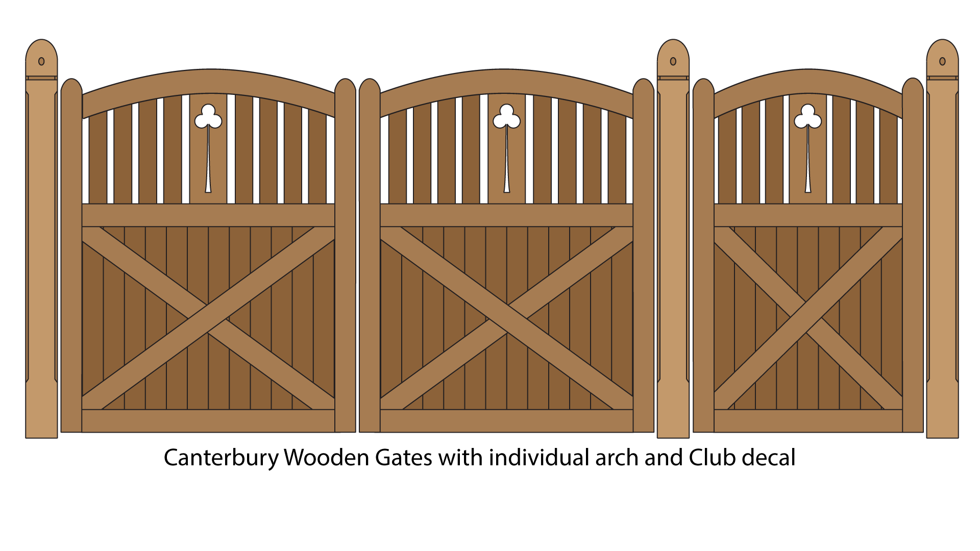 Canterbury wooden gates with common arch and club decal