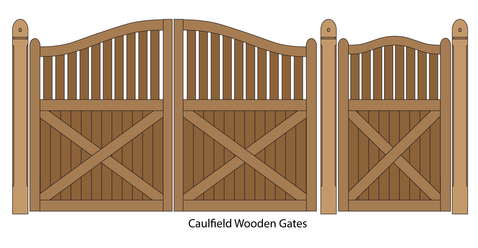 Caulfield Wooden driveway and pedestrian entrance gates