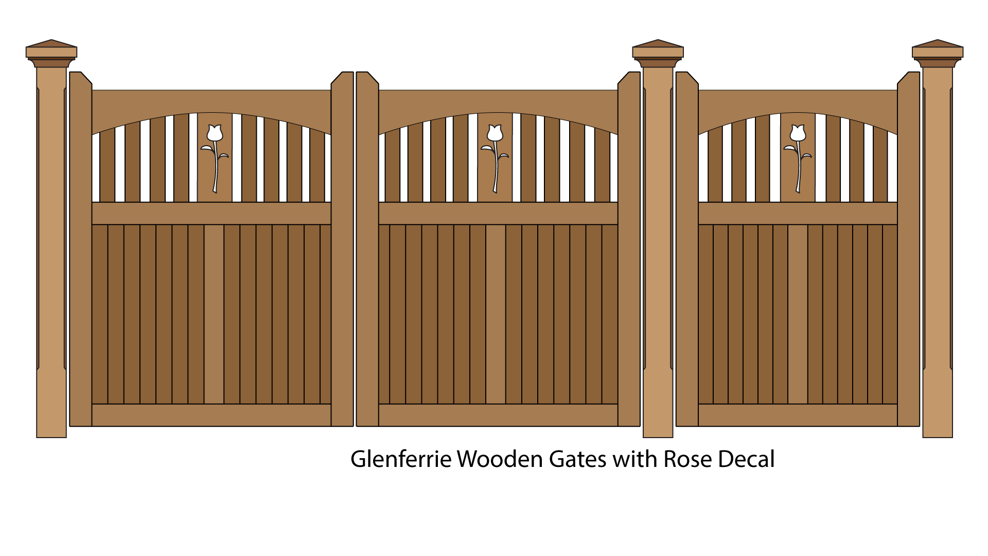 Glenferrie wooden gates with Rose decal