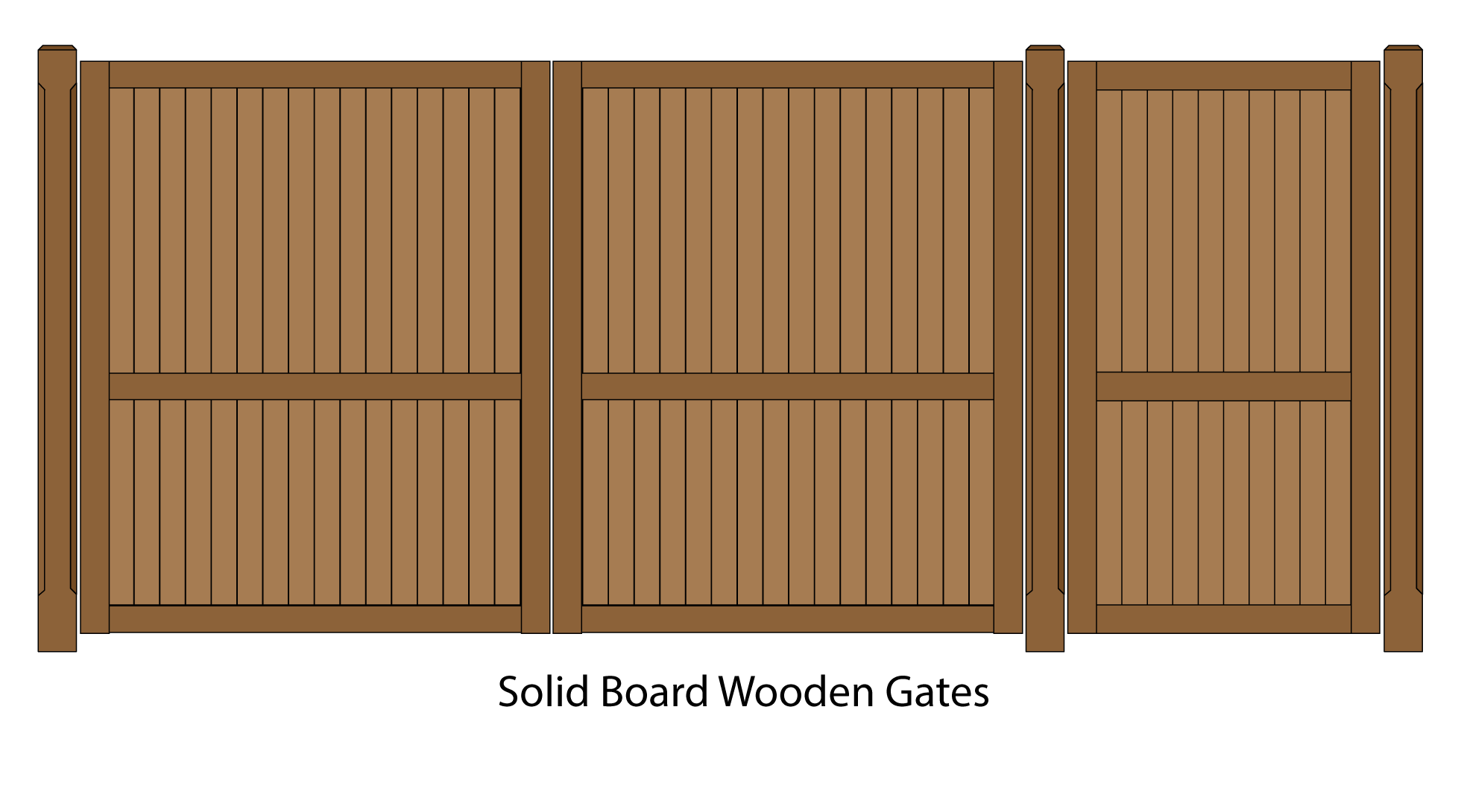 Solid Board Wooden driveway and pedestrian entrance gates