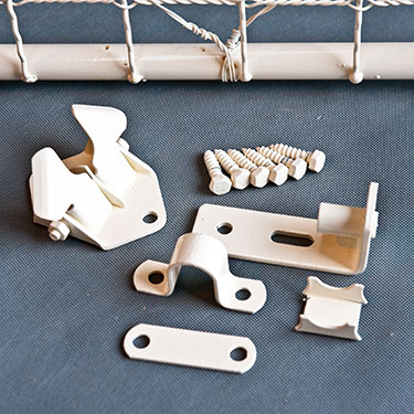 Woven wire gate hardware